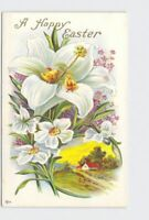 ANTIQUE POSTCARD EASTER CHICKS LILIES DAFFODILS