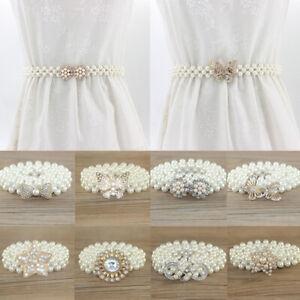 New Women Belt Chain Elastic Faux Pearl Belt Rhinestone Inlay Decor Fashion Gift