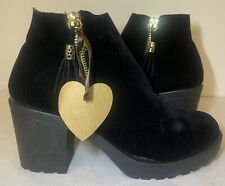 New Size 8 Women's Ladies Love My Boots Black Heel Winter Ankle Boots AF 08