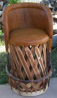 Equipale Rustic Mexican Leather Bar Stool