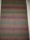ancien tissu textile ameublement géometrique rouge vert noir vintage 115x62cm
