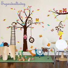 1.4M Height Jungle Animal Owl Monkey Tree Baby Kid Nursery Room Wall Stickers