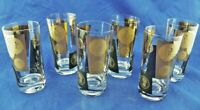 VTG Highball Glassware Black & Gold Embossed Golden Coin Set of 6 EUC Orig Box