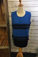 Willow Sleeveless Tank Semi-crop Sweater Blue & Black NWT Size Large
