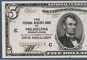 """1929 $5 FRBN """"PHILADELPHIA"""" W/LOW S.N.  ♚♚C00000051A♚♚  PCGS CH ABOUT NEW 58PPQ"""