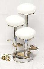 """VINTAGE 70's CHROME MUSHROOM with IRON TOLE ENAMEL LEAF TABLE LAMP ~ 26"""""""