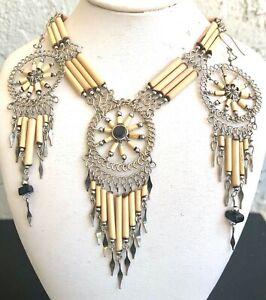 Peruvian Black Onyx Stone Bamboo Dream Catcher Necklace Earrings Set Handmade