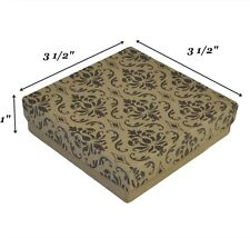 """200 Damask Cotton Filled Jewelry Packaging Gift Boxes 3 1/2"""" x 3 1/2"""" x 1"""""""