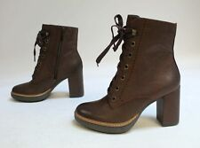 Naturalizer Women's Callie Combat Lace-Up Ankle Boots MW7 Chocolate Size US:5.5