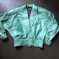Women's Vintage 80's Vera Pelle Light Green Leather Bomber Jacket Sz 40 (Small)