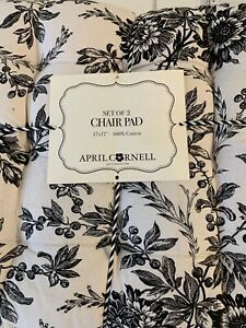 """APRIL CORNELL Black/ White toile 17"""" X 17"""" 100% cotton pair of chair pads NWT"""