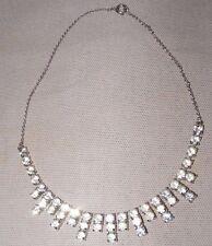 VINTAGE Diamante Rhinestone Collare Collana Doppia Catena di collegamento
