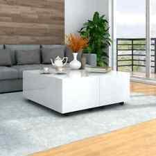 vidaXL Couchtisch Hochglanz-Weiß Ausziehbar Beistelltisch Wohnzimmertisch