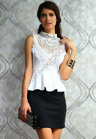 Dress Woman Elegant Sheath Little Ceremony Lace Peplum Wiggle Pencil Short/Mini