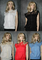 BNWT Ladies Lace Cotton Blouse Shirt Top Size 10 12 14 Red White Nude Blue