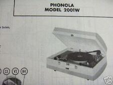 PHONOLA 2001W PHONOGRAPH PHOTOFACT
