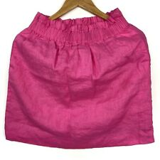 J crew Linen Pink Pull On Skirt Size 4 Side Pockets