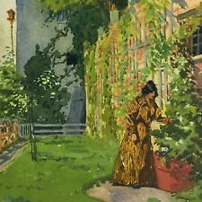PAINTING Watercolor ~ VICTORIAN WOMAN IN GARDEN ~ 1890s Signed ALBERT LEVERING
