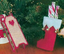 STOCKING & SLED CHRISTMAS ORNAMENTS PLASTIC CANVAS PATTERN INSTRUCTIONS