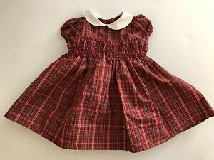 Gap Baby Burgundy Smocked Plaid Baby Girls Dress Size 3-6 Months