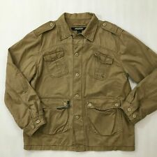 Wear First Men's Sz L Khaki Button Down Long Sleeve Shirt Jacket Cotton