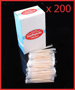200 Individually Wrapped Wooden Toothpicks 65mm Home Party Hotel