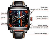 Automatic Self Wind Mechanical Genuine Leather Stainless Steel Black Orange Blue