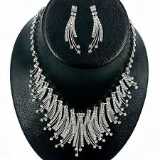 Glittery Clear Flame Crystal Rhinestone Necklace & Earring set for Wedding Brida