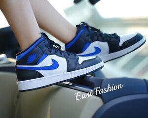 Nike Air Jordan 1 Retro Mid Game Royal Blue White Black 554724/554725-140 Men GS