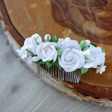 Wedding Flower Hair Comb HANDCRAFTED Fashion polymer clay white floral HANDMADE