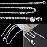 """Silver Plated 3mm Rope Mens Chain Womens Necklace (16"""" 18"""" 20"""" 22"""" 24"""") inches"""