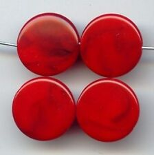 12 VINTAGE RED MARBLE ACRYLIC 20mm. ROUND FLAT DISC BEADS 7065