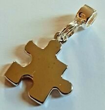 Sterling Silver Charm Dangle & Autism Awareness High Shine Puzzle Piece Charm