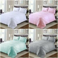 LUXURY 100% EGYPTIAN COTTON BELMOUNT PINTUCK DUVET COVER SET DOUBLE KING SIZES
