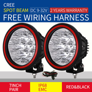7inch 1400W CREE Round Spotlight LED Driving Offroad 4X4 Black work lamp HID bar