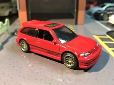 Hot Wheels Custom 1990 Honda Civic EF Red W/ Volks Racing CE28 And Rubber Tires