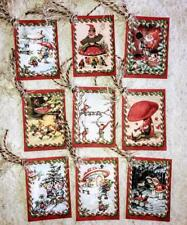 Set of 9 Hang Tags~Vintage Christmas Elves~Gift Tags~Scrapbooking~Card's~#107T