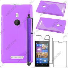 Housse Etui Coque Silicone S-line Violet Nokia Lumia 925 + Stylet + 3 Film écran