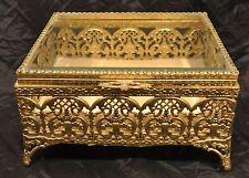 Vintage Ormolu Gold Filigree Beveled Glass Jewelry Casket Trinket Box