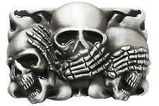 New Original Black Enamel Flame Shy Skulls Tattoo Belt Buckle also Stock in US