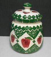 Vintage Country Home Ceramic Apple & Hearts Cookie Jar Kitchen Canister
