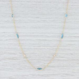 "New 4.08ctw Blue Topaz & Diamond Station Necklace 14k Yellow Gold 18"" Adjustable"