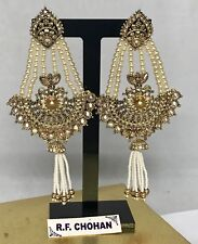 Gold Zirconia Pearl Strand Earrings Indian Bollywood Pakistani Jewellery