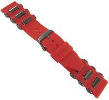 24mm Trendy Rubber Silicone Red Dark Grey Tone Insert Watch Band Strap #SL92