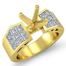 1.25 Ct Princess Cut Diamond Engagement Ring Semi Mount 14k Gold Yellow VS1 F