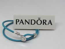 Pandora Small Turquoise Double Leather 13.8 In 35 CM Bracelet 597194CTQ-D1