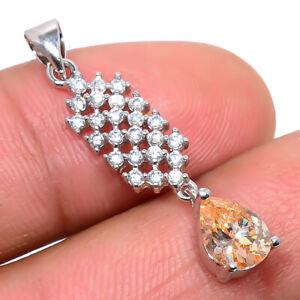 "Madagascar Morganite Quartz & White Topaz 925 Silver Pendant Jewelry 1.25"" T2767"