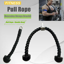 Single Dual Grip Tricep Rope Pull Down Cable Attachment Exercise Handle Cable US
