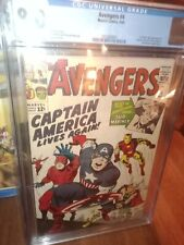 AVENGERS 4 CGC 8.0 (3/64) OW/W re-intro of Captain America, early SA Sub-mariner