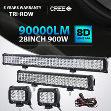 "Tri Row 28inch LED Light Bar + 20in +4"" CREE PODS  4WD FOR FORD JEEP OFFROAD 22"